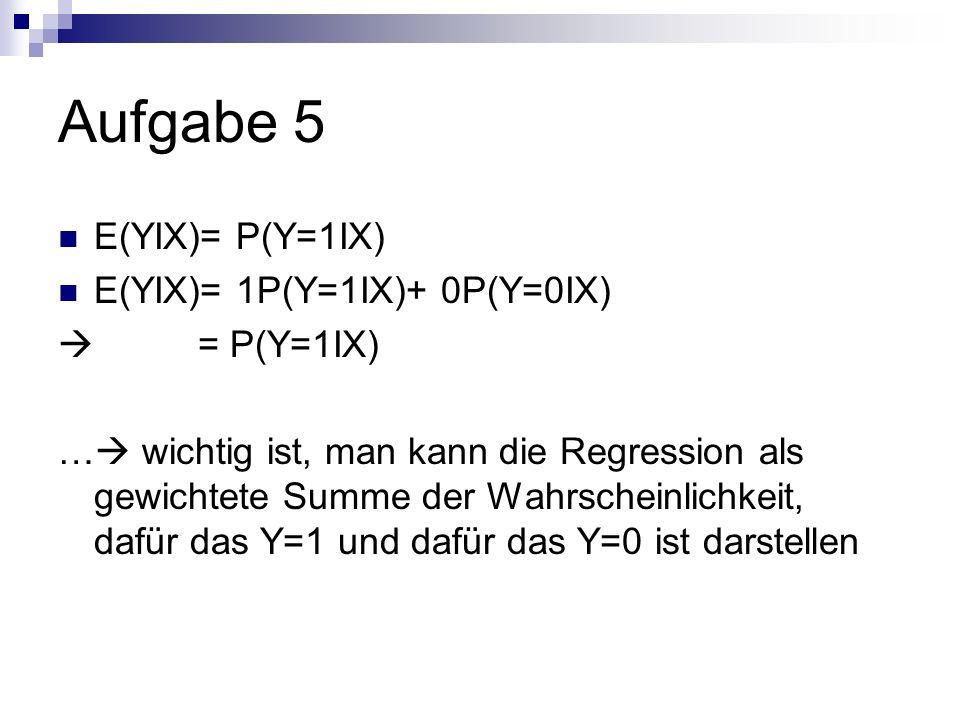 Aufgabe 5 E(YIX)= P(Y=1IX) E(YIX)= 1P(Y=1IX)+ 0P(Y=0IX) = P(Y=1IX) … wichtig ist, man kann die Regression als gewichtete Summe der Wahrscheinlichkeit, dafür das Y=1 und dafür das Y=0 ist darstellen