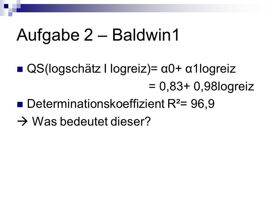 Aufgabe 2 – Baldwin1 QS(logschätz I logreiz)= α0+ α1logreiz = 0,83+ 0,98logreiz Determinationskoeffizient R²= 96,9 Was bedeutet dieser?