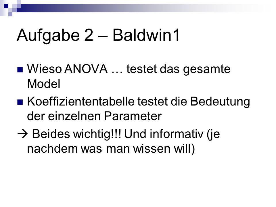 Aufgabe 2 – Baldwin1 Wieso ANOVA … testet das gesamte Model Koeffiziententabelle testet die Bedeutung der einzelnen Parameter Beides wichtig!!.