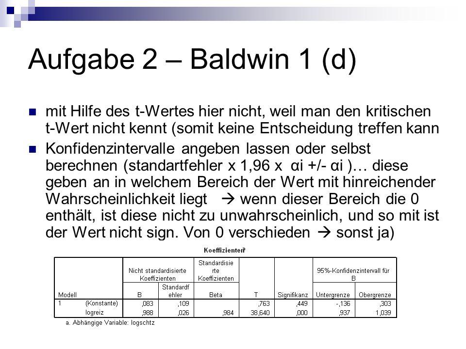 Aufgabe 2 – Baldwin 1 (d) mit Hilfe des t-Wertes hier nicht, weil man den kritischen t-Wert nicht kennt (somit keine Entscheidung treffen kann Konfidenzintervalle angeben lassen oder selbst berechnen (standartfehler x 1,96 x αi +/- αi )… diese geben an in welchem Bereich der Wert mit hinreichender Wahrscheinlichkeit liegt wenn dieser Bereich die 0 enthält, ist diese nicht zu unwahrscheinlich, und so mit ist der Wert nicht sign.
