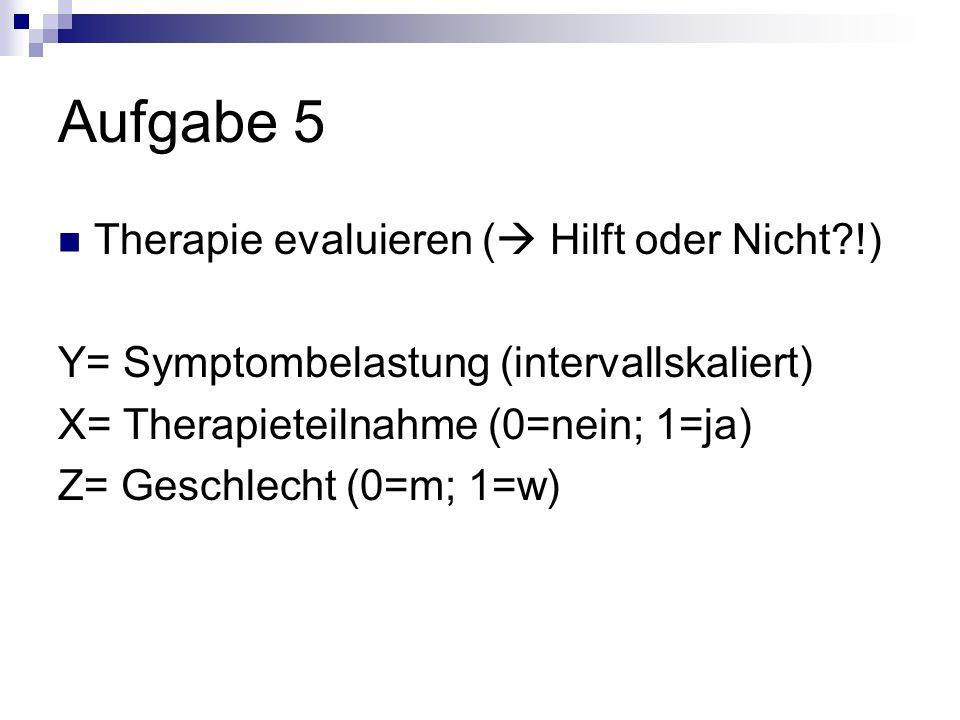 Aufgabe 5 Therapie evaluieren ( Hilft oder Nicht?!) Y= Symptombelastung (intervallskaliert) X= Therapieteilnahme (0=nein; 1=ja) Z= Geschlecht (0=m; 1=w)