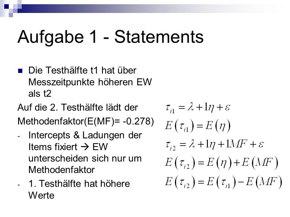 Aufgabe 1 - Statements Die Testhälfte t1 hat über Messzeitpunkte höheren EW als t2 Auf die 2. Testhälfte lädt der Methodenfaktor(E(MF)= -0.278) - Inte