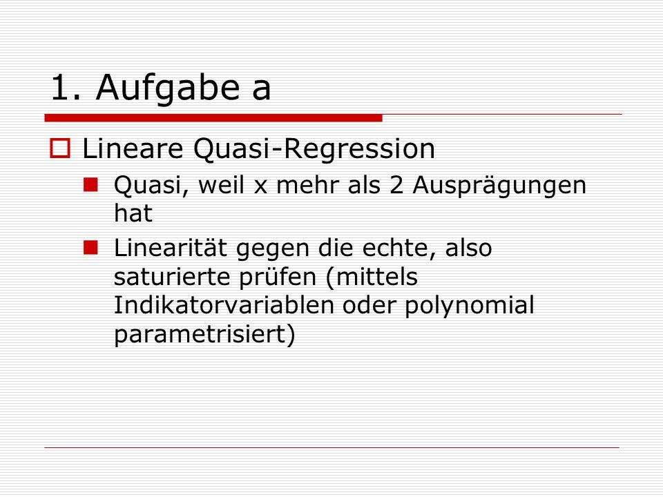 1. Aufgabe a Lineare Quasi-Regression Quasi, weil x mehr als 2 Ausprägungen hat Linearität gegen die echte, also saturierte prüfen (mittels Indikatorv