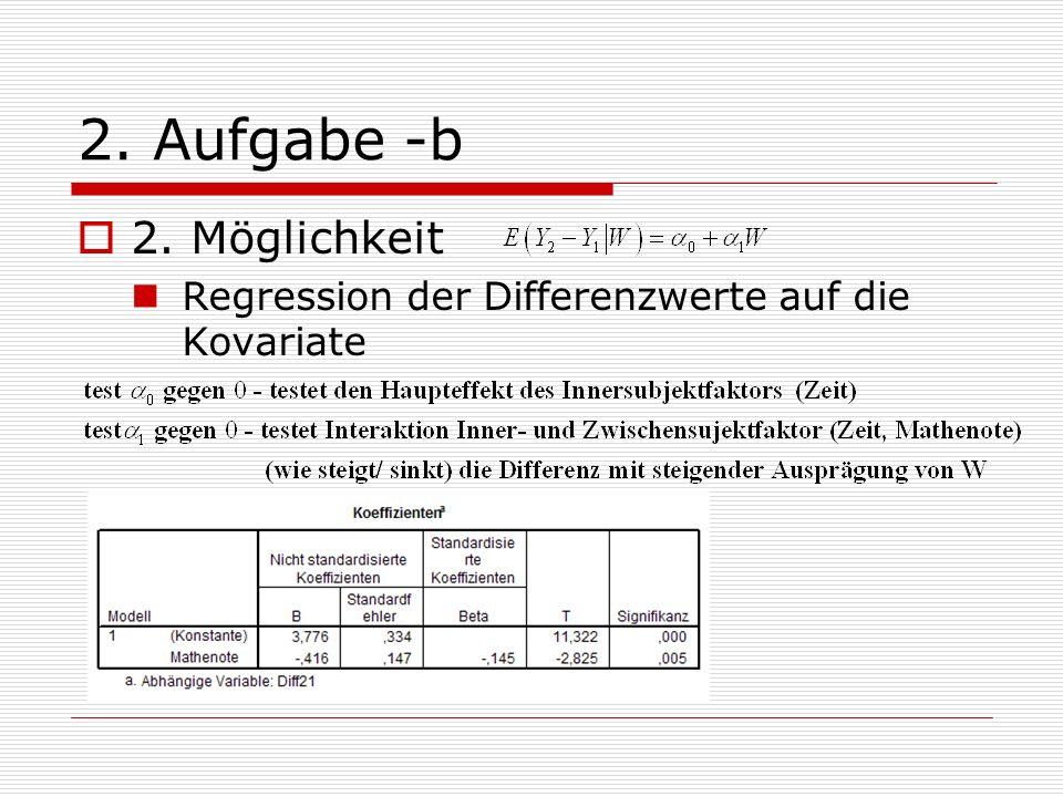 2. Aufgabe -b 2. Möglichkeit Regression der Differenzwerte auf die Kovariate