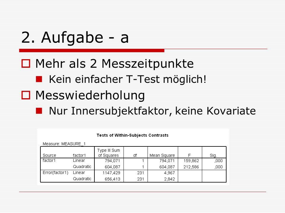 2. Aufgabe - a Mehr als 2 Messzeitpunkte Kein einfacher T-Test möglich! Messwiederholung Nur Innersubjektfaktor, keine Kovariate