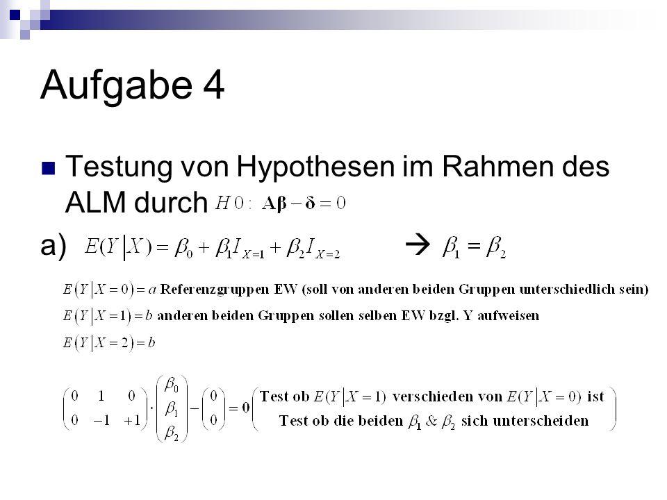 Aufgabe 4 Testung von Hypothesen im Rahmen des ALM durch a)