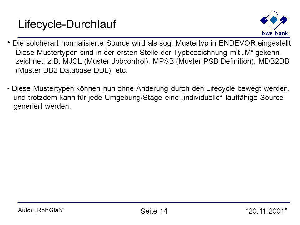 20.11.2001 Autor: Rolf Glaß Seite 14 Lifecycle-Durchlauf Die solcherart normalisierte Source wird als sog. Mustertyp in ENDEVOR eingestellt. Diese Mus