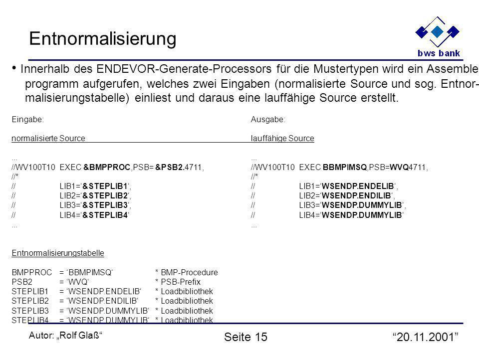 20.11.2001 Autor: Rolf Glaß Seite 15 Entnormalisierung Innerhalb des ENDEVOR-Generate-Processors für die Mustertypen wird ein Assembler- programm aufgerufen, welches zwei Eingaben (normalisierte Source und sog.