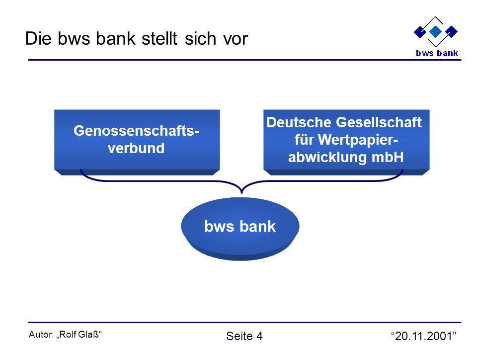 20.11.2001 Autor: Rolf Glaß Seite 4 Genossenschafts- verbund Deutsche Gesellschaft für Wertpapier- abwicklung mbH bws bank Die bws bank stellt sich vor
