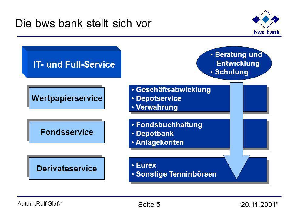 20.11.2001 Autor: Rolf Glaß Seite 6 bws bankWPS etbFiMaSeBaGroßbanken ohne Deutsche Bank Sparkassen nicht WPS Sonstige Kreditbanken 21% 17% 7% 13% 5% 21% 16% 31% 9% 14% 3% 21% 13% 9% Anzahl Depots ohne KAG Gesamt: 20,4 Mio.