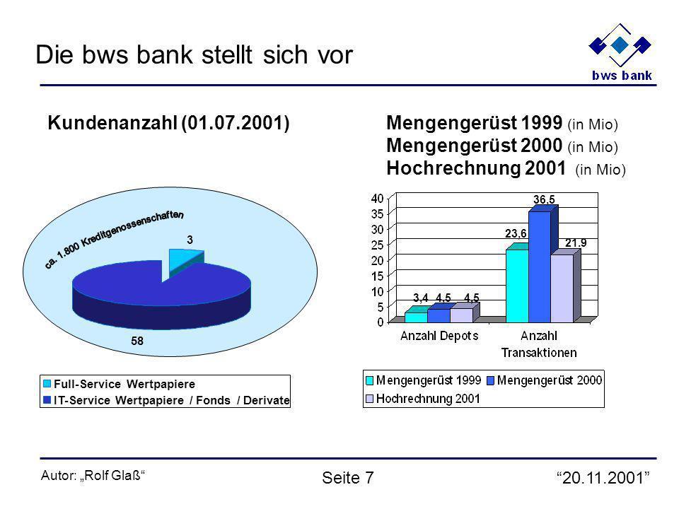 20.11.2001 Autor: Rolf Glaß Seite 7 Kundenanzahl (01.07.2001) 3 58 Full-Service Wertpapiere IT-Service Wertpapiere / Fonds / Derivate Mengengerüst 1999 (in Mio) Mengengerüst 2000 (in Mio) Hochrechnung 2001 (in Mio) 4,53,4 23,6 36,5 4,5 21.9 Die bws bank stellt sich vor
