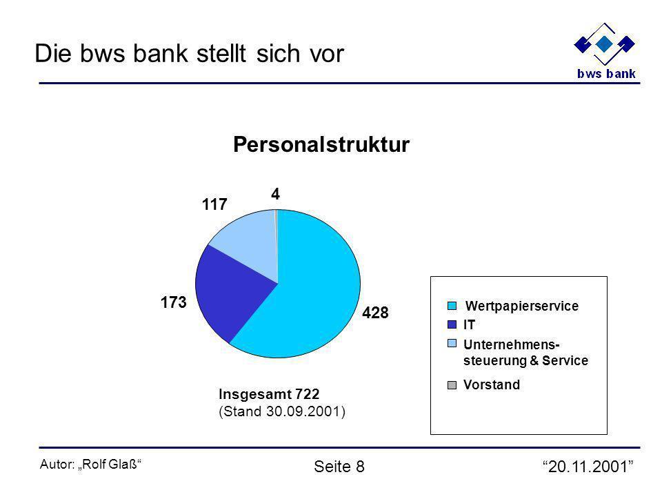 20.11.2001 Autor: Rolf Glaß Seite 8 428 173 117 4 Wertpapierservice IT Unternehmens- steuerung & Service Vorstand Personalstruktur Insgesamt 722 (Stand 30.09.2001) Die bws bank stellt sich vor