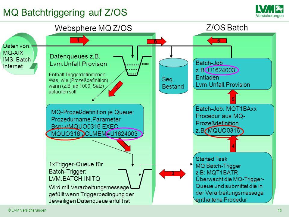 16 © LVM Versicherungen MQ Batchtriggering auf Z/OS Websphere MQ Z/OS 1xTrigger-Queue für Batch-Trigger: LVM.BATCH.INITQ Z/OS Batch Started Task MQ Batch-Trigger z.B: MQT1BATR Überwacht die MQ-Trigger- Queue und submittet die in der Verarbeitungsmessage enthaltene Procedur Datenqueues z.B.