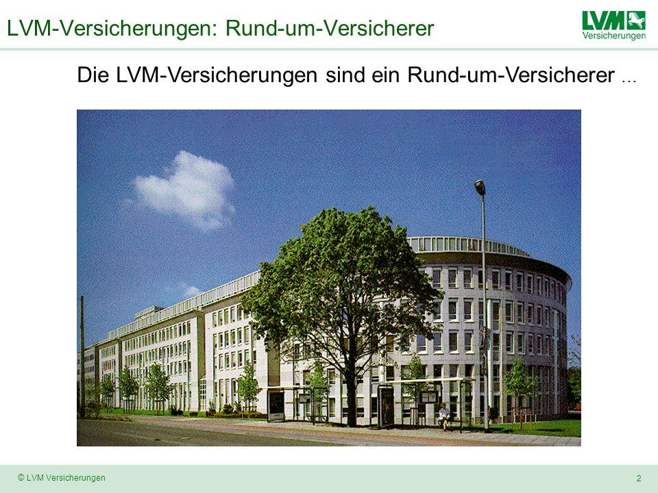 2 © LVM Versicherungen LVM-Versicherungen: Rund-um-Versicherer Die LVM-Versicherungen sind ein Rund-um-Versicherer...