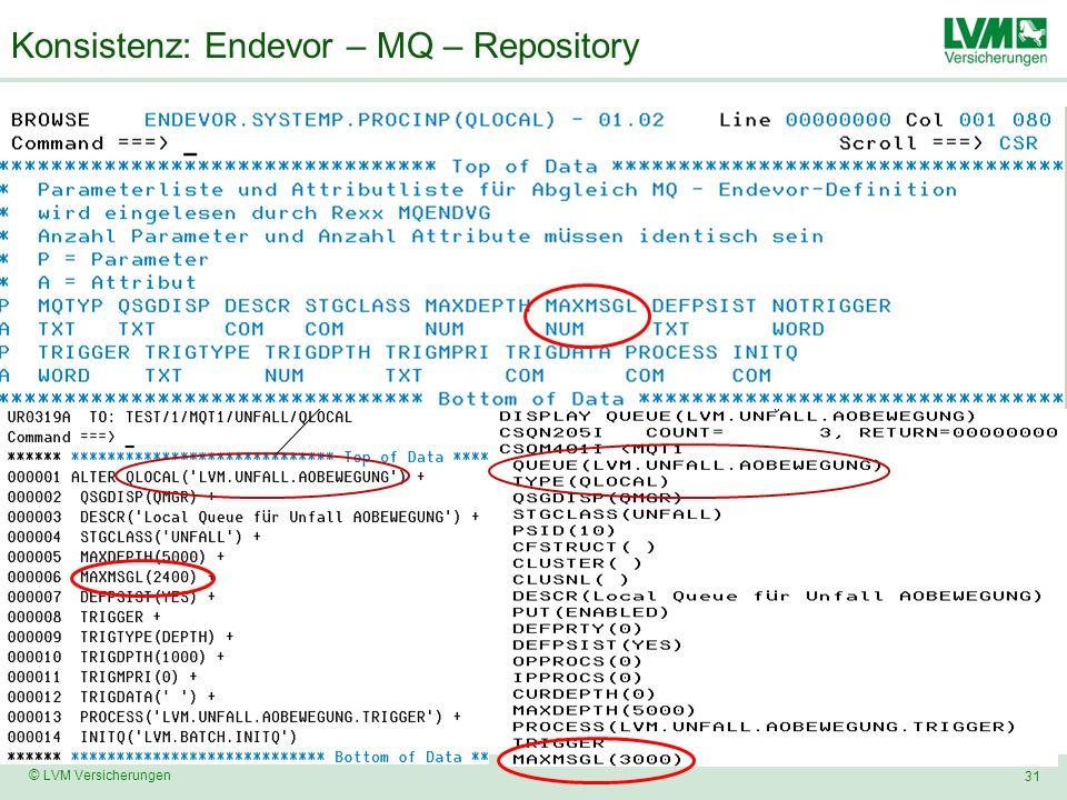 31 © LVM Versicherungen Konsistenz: Endevor – MQ – Repository Endevor System MQxn Queue Manager MQxn Abgleich Endevor-Source zu MQ-Definition per Rexx Retrieve MQ-Display-CMD