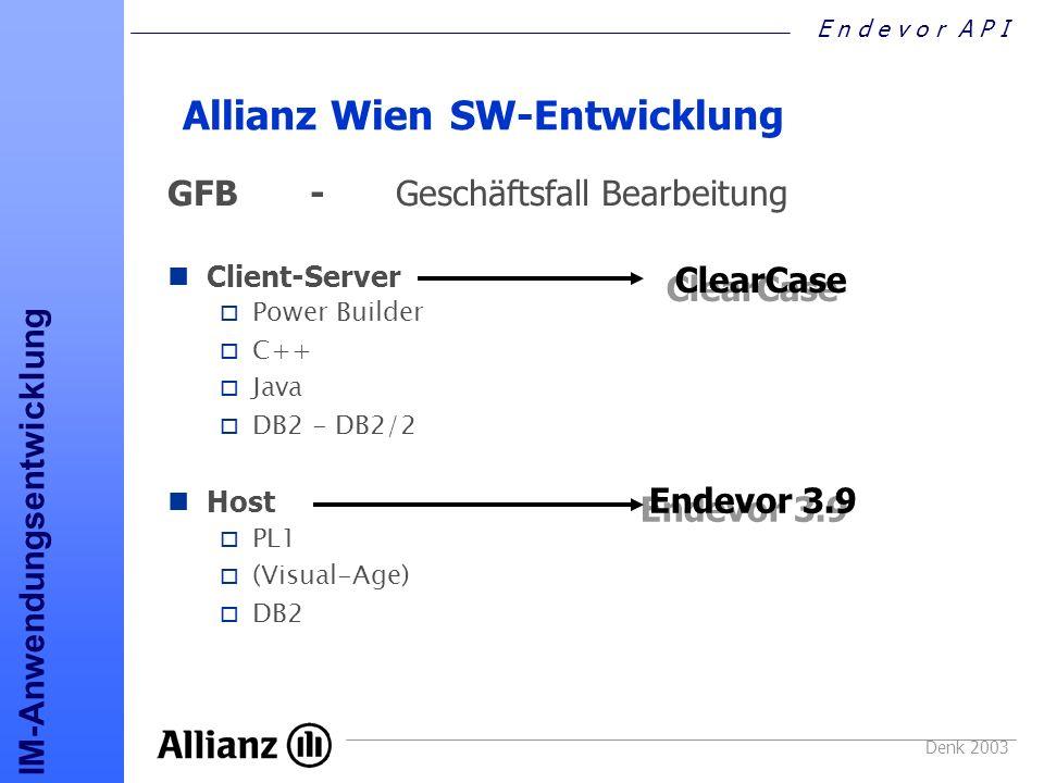 E n d e v o r A P I IM-Anwendungsentwicklung Denk 2003 Endevor Versionierung o REXX - PL1 - API Software-Versand Schweiz o PL1 o ASM o VAGEN o COMPUSET o ROCHADE o SQL-Stmt o JCL-Parameter o DB2-DDL o DB2-Load-Stmt o DB2-Unload-Stmt ENDEVOR-Versionierung