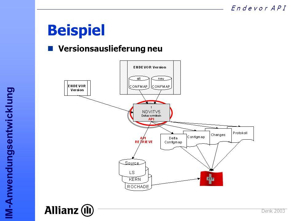 E n d e v o r A P I IM-Anwendungsentwicklung Denk 2003 Beispiel Versionsauslieferung neu