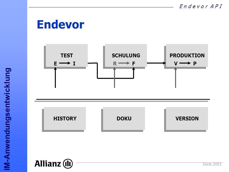 E n d e v o r A P I IM-Anwendungsentwicklung Denk 2003 API PLI-Beispiel DCL ENA$NDVR OPTIONS(COBOL) ENTRY; %INCLUDE NDVALELM; /* Copybook für LIST ELEMENT */ %INCLUDE NDVAACTL; /* Copybook für Steuerung */ %INCLUDE NDVCNST; /* Copybook EAC_CONSTANTS */....