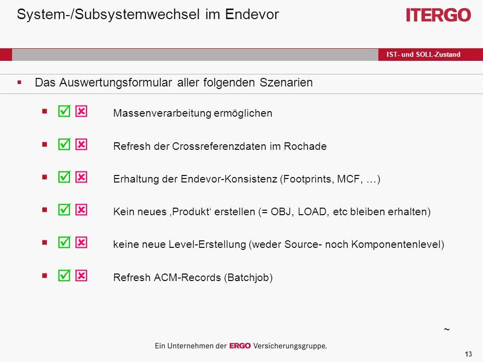13 System-/Subsystemwechsel im Endevor Das Auswertungsformular aller folgenden Szenarien Massenverarbeitung ermöglichen Refresh der Crossreferenzdaten im Rochade Erhaltung der Endevor-Konsistenz (Footprints, MCF, …) Kein neues Produkt erstellen (= OBJ, LOAD, etc bleiben erhalten) keine neue Level-Erstellung (weder Source- noch Komponentenlevel) Refresh ACM-Records (Batchjob) ~ IST- und SOLL-Zustand