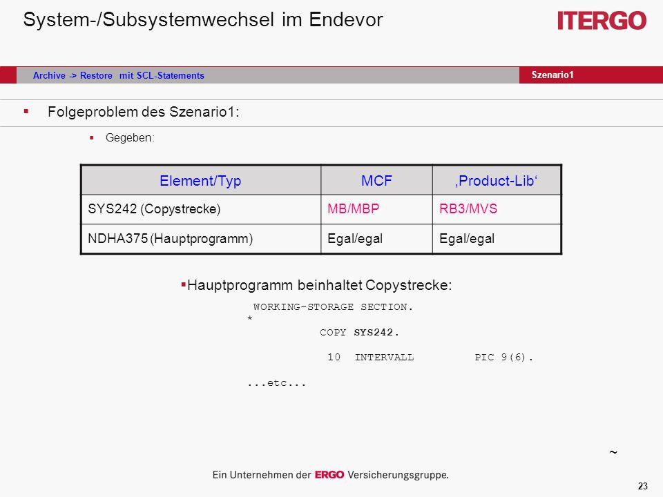 23 System-/Subsystemwechsel im Endevor Folgeproblem des Szenario1: Gegeben: Szenario1 Element/TypMCFProduct-Lib SYS242 (Copystrecke)MB/MBPRB3/MVS NDHA375 (Hauptprogramm)Egal/egal Hauptprogramm beinhaltet Copystrecke: WORKING-STORAGE SECTION.