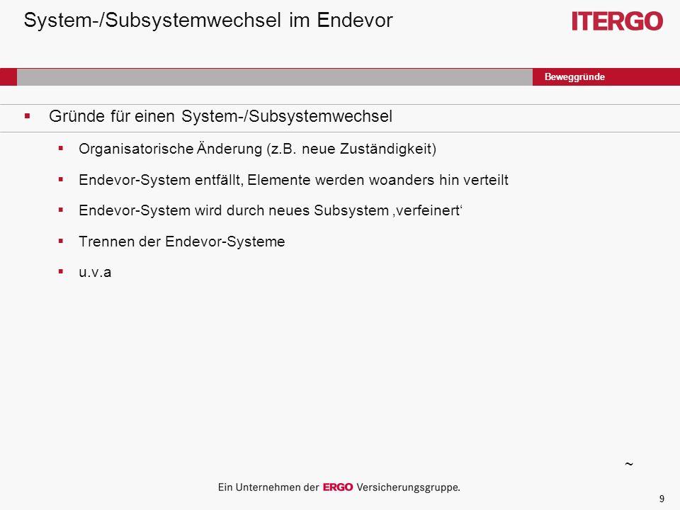 9 System-/Subsystemwechsel im Endevor Gründe für einen System-/Subsystemwechsel Organisatorische Änderung (z.B.