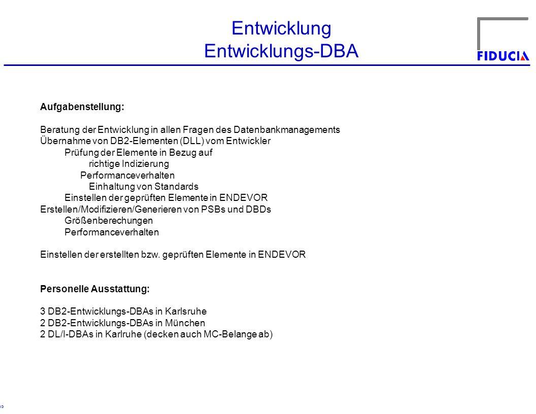 © RBG Entwicklung Entwicklungs-DBA Aufgabenstellung: Beratung der Entwicklung in allen Fragen des Datenbankmanagements Übernahme von DB2-Elementen (DL