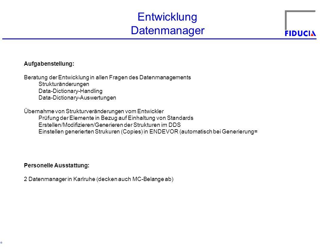 © RBG Entwicklung Datenmanager Aufgabenstellung: Beratung der Entwicklung in allen Fragen des Datenmanagements Strukturänderungen Data-Dictionary-Hand