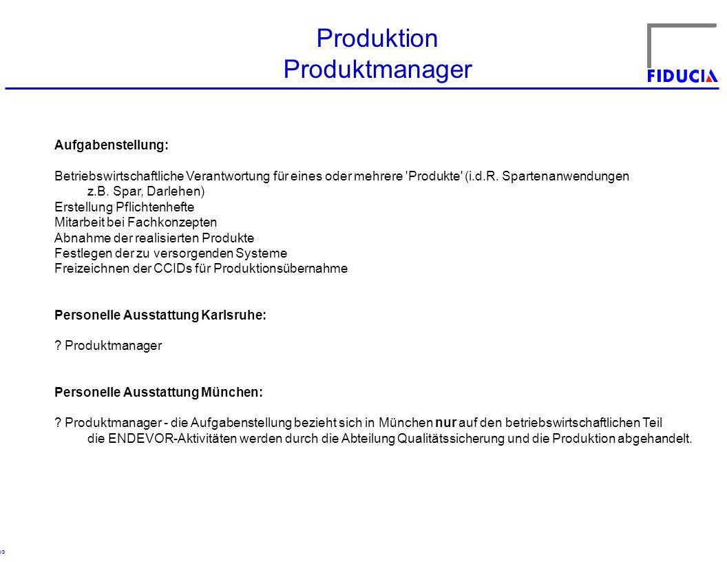 © RBG Produktion Produktmanager Aufgabenstellung: Betriebswirtschaftliche Verantwortung für eines oder mehrere 'Produkte' (i.d.R. Spartenanwendungen z