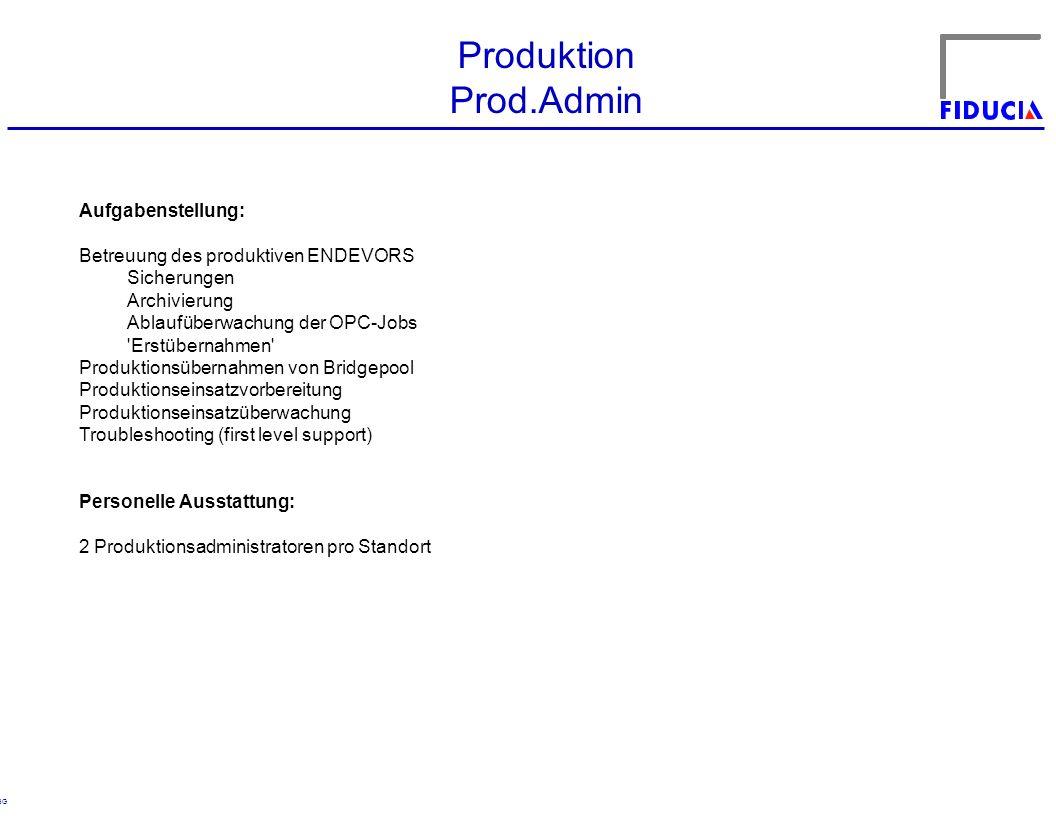 © RBG Produktion Prod.Admin Aufgabenstellung: Betreuung des produktiven ENDEVORS Sicherungen Archivierung Ablaufüberwachung der OPC-Jobs Erstübernahmen Produktionsübernahmen von Bridgepool Produktionseinsatzvorbereitung Produktionseinsatzüberwachung Troubleshooting (first level support) Personelle Ausstattung: 2 Produktionsadministratoren pro Standort