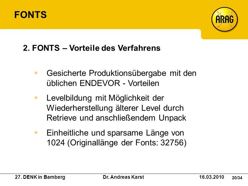 27. DENK in Bamberg Dr. Andreas Karst 16.03.2010 20/34 Gesicherte Produktionsübergabe mit den üblichen ENDEVOR - Vorteilen Levelbildung mit Möglichkei
