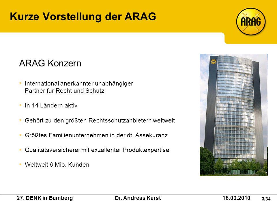 27. DENK in Bamberg Dr. Andreas Karst 16.03.2010 3/34 Kurze Vorstellung der ARAG ARAG Konzern International anerkannter unabhängiger Partner für Recht