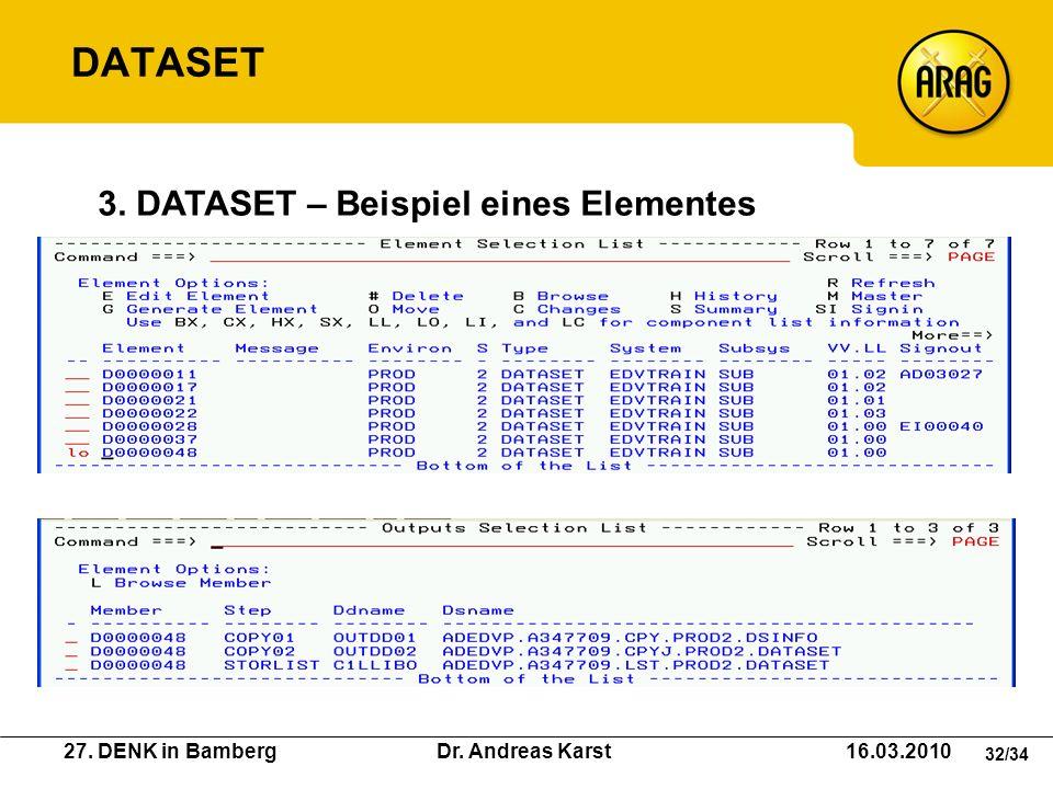 27. DENK in Bamberg Dr. Andreas Karst 16.03.2010 32/34 3. DATASET – Beispiel eines Elementes DATASET