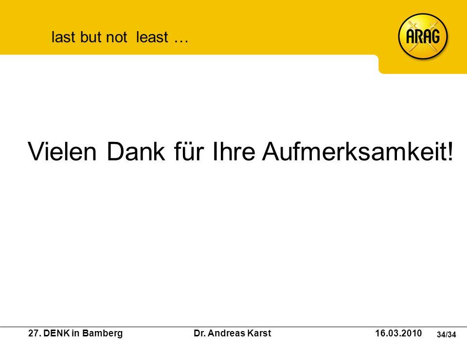 27. DENK in Bamberg Dr. Andreas Karst 16.03.2010 34/34 Vielen Dank für Ihre Aufmerksamkeit! last but not least …