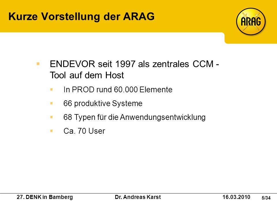 27. DENK in Bamberg Dr. Andreas Karst 16.03.2010 5/34 Kurze Vorstellung der ARAG ENDEVOR seit 1997 als zentrales CCM - Tool auf dem Host In PROD rund