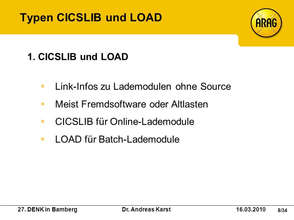 27. DENK in Bamberg Dr. Andreas Karst 16.03.2010 8/34 Link-Infos zu Lademodulen ohne Source Meist Fremdsoftware oder Altlasten CICSLIB für Online-Lade