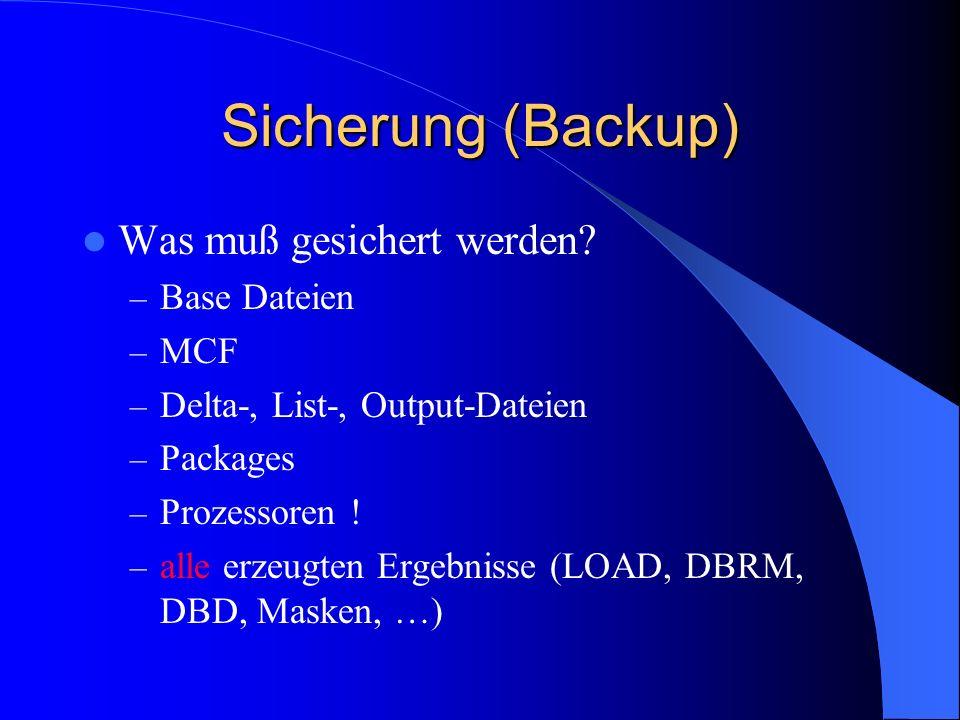 Backup (physikalisch) Physikalischer Backup – IEBGENER E-Libs – IEBCOPY PO-, PDSE-Libs – DFDSS (ADRDSSU) Alle Dateiformen, auf Datei-Ebene, auf Volume-Ebene – HSM ausreichende Anzahl von Generationen definieren auch für Reorganisation –Sequentiell, DA (E-Libs) –PO/PDSE –VSAM