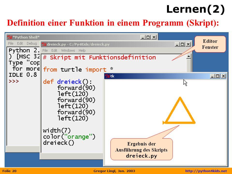 Folie 20 Gregor Lingl, Jan. 2003 http://python4kids.net Lernen(2) Definition einer Funktion in einem Programm (Skript): Ergebnis der Ausführung des Sk