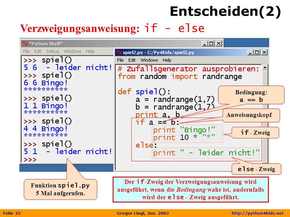 Folie 25 Gregor Lingl, Jan. 2003 http://python4kids.net Entscheiden(2) Verzweigungsanweisung: if - else Anweisungskopf if - Zweig Bedingung: a == b De