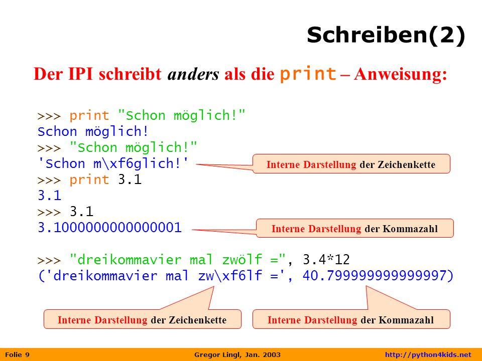 Folie 9 Gregor Lingl, Jan. 2003 http://python4kids.net Schreiben(2) Der IPI schreibt anders als die print – Anweisung: >>> print