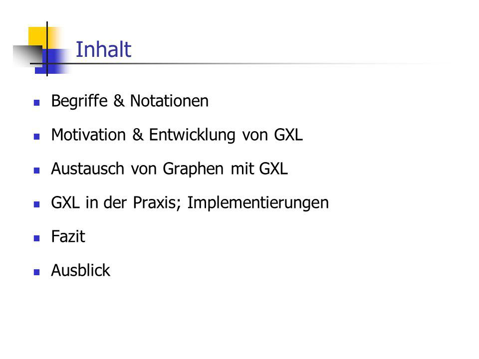 Inhalt Begriffe & Notationen Motivation & Entwicklung von GXL Austausch von Graphen mit GXL GXL in der Praxis; Implementierungen Fazit Ausblick