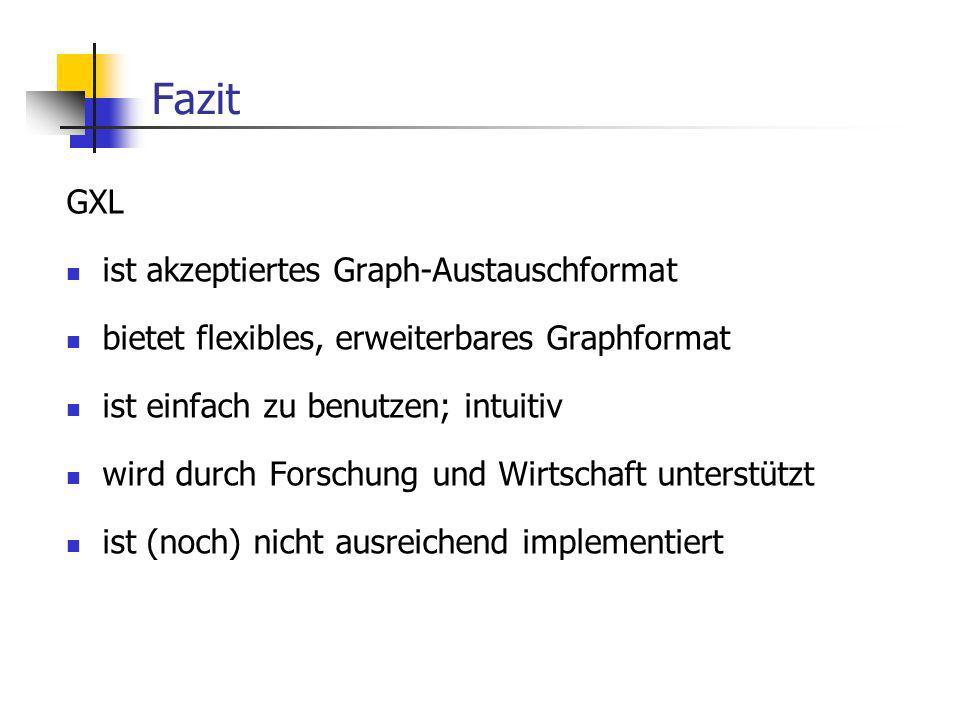 Fazit GXL ist akzeptiertes Graph-Austauschformat bietet flexibles, erweiterbares Graphformat ist einfach zu benutzen; intuitiv wird durch Forschung und Wirtschaft unterstützt ist (noch) nicht ausreichend implementiert