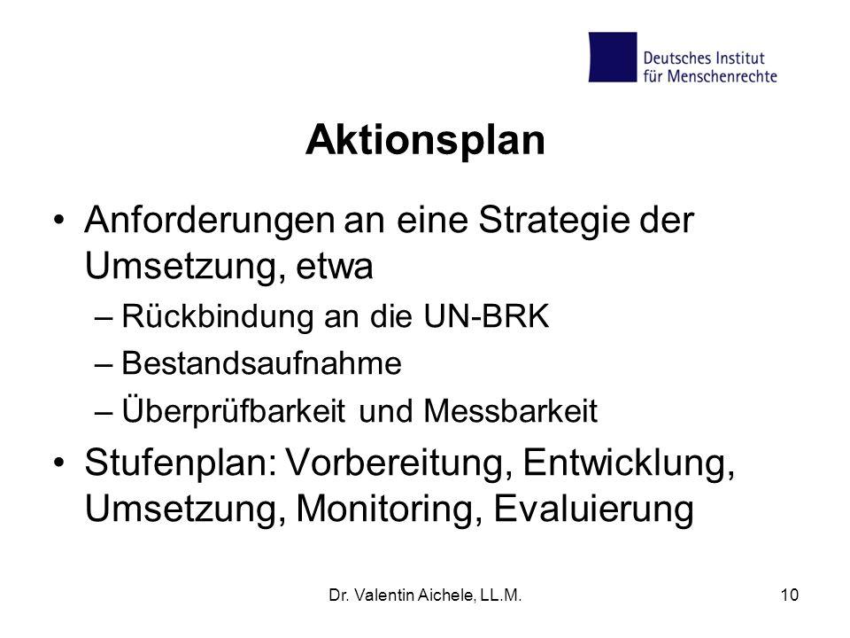 10 Aktionsplan Anforderungen an eine Strategie der Umsetzung, etwa –Rückbindung an die UN-BRK –Bestandsaufnahme –Überprüfbarkeit und Messbarkeit Stufe