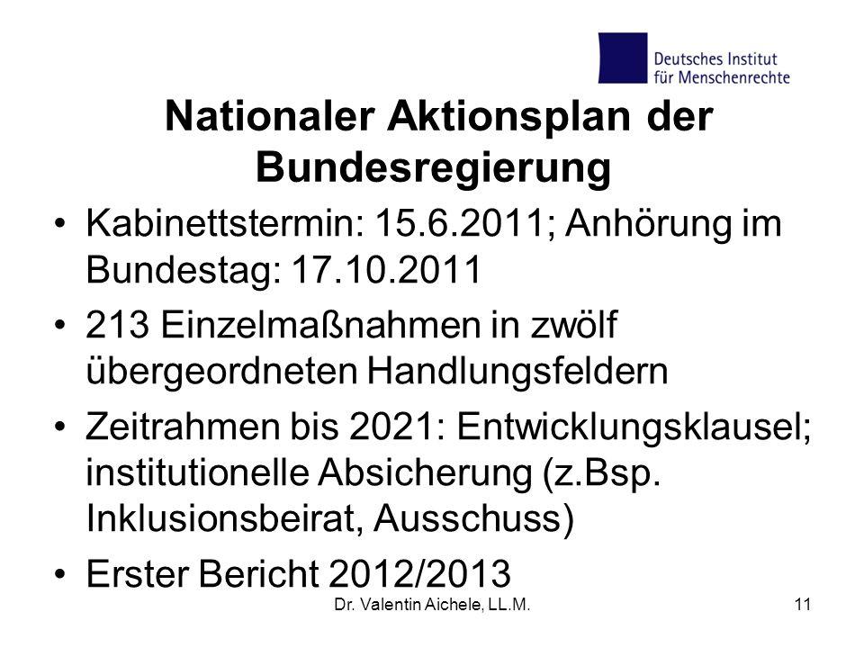 Nationaler Aktionsplan der Bundesregierung Kabinettstermin: 15.6.2011; Anhörung im Bundestag: 17.10.2011 213 Einzelmaßnahmen in zwölf übergeordneten H