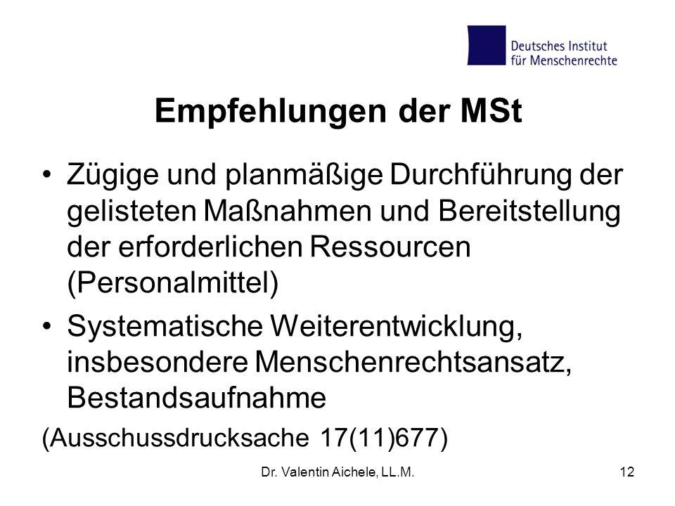Empfehlungen der MSt Zügige und planmäßige Durchführung der gelisteten Maßnahmen und Bereitstellung der erforderlichen Ressourcen (Personalmittel) Sys