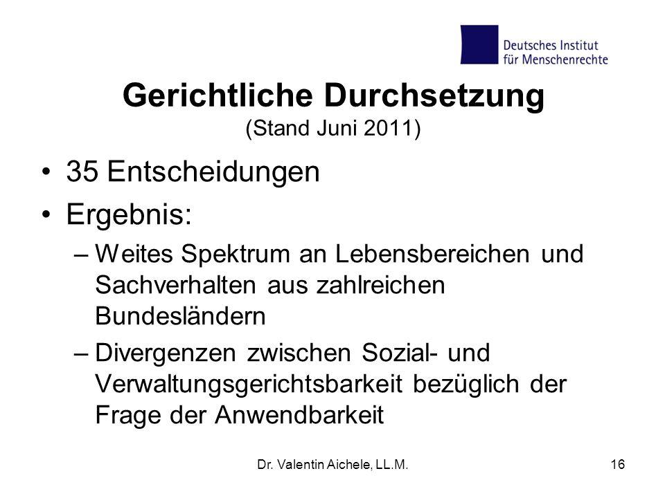 Gerichtliche Durchsetzung (Stand Juni 2011) 35 Entscheidungen Ergebnis: –Weites Spektrum an Lebensbereichen und Sachverhalten aus zahlreichen Bundeslä