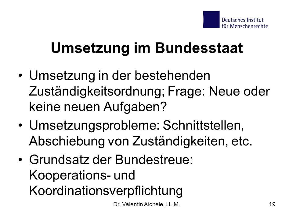 Umsetzung im Bundesstaat Umsetzung in der bestehenden Zuständigkeitsordnung; Frage: Neue oder keine neuen Aufgaben? Umsetzungsprobleme: Schnittstellen
