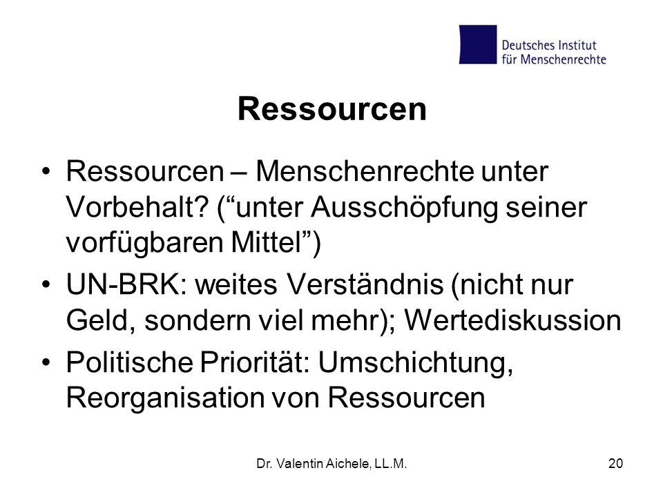 Ressourcen Ressourcen – Menschenrechte unter Vorbehalt? (unter Ausschöpfung seiner vorfügbaren Mittel) UN-BRK: weites Verständnis (nicht nur Geld, son