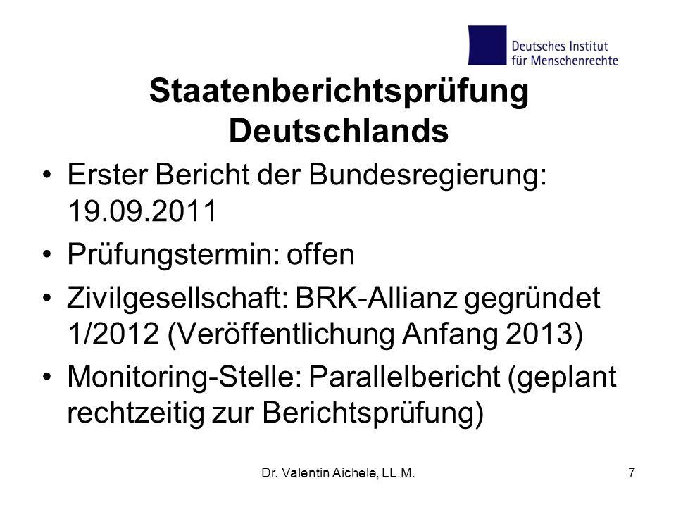 Staatenberichtsprüfung Deutschlands Erster Bericht der Bundesregierung: 19.09.2011 Prüfungstermin: offen Zivilgesellschaft: BRK-Allianz gegründet 1/20