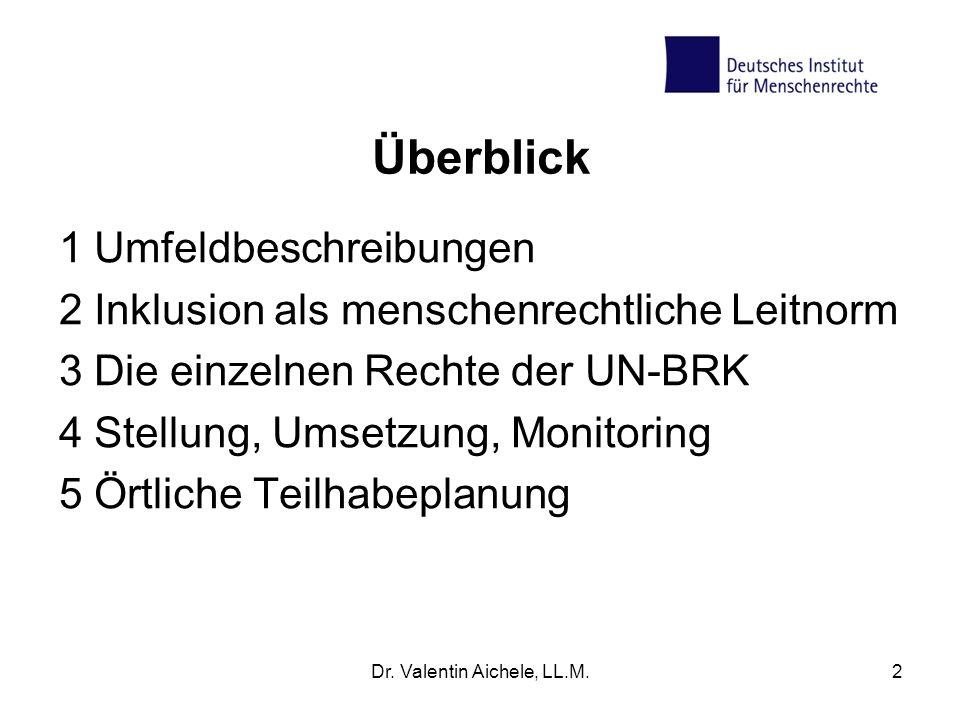Überblick 1 Umfeldbeschreibungen 2 Inklusion als menschenrechtliche Leitnorm 3 Die einzelnen Rechte der UN-BRK 4 Stellung, Umsetzung, Monitoring 5 Ört