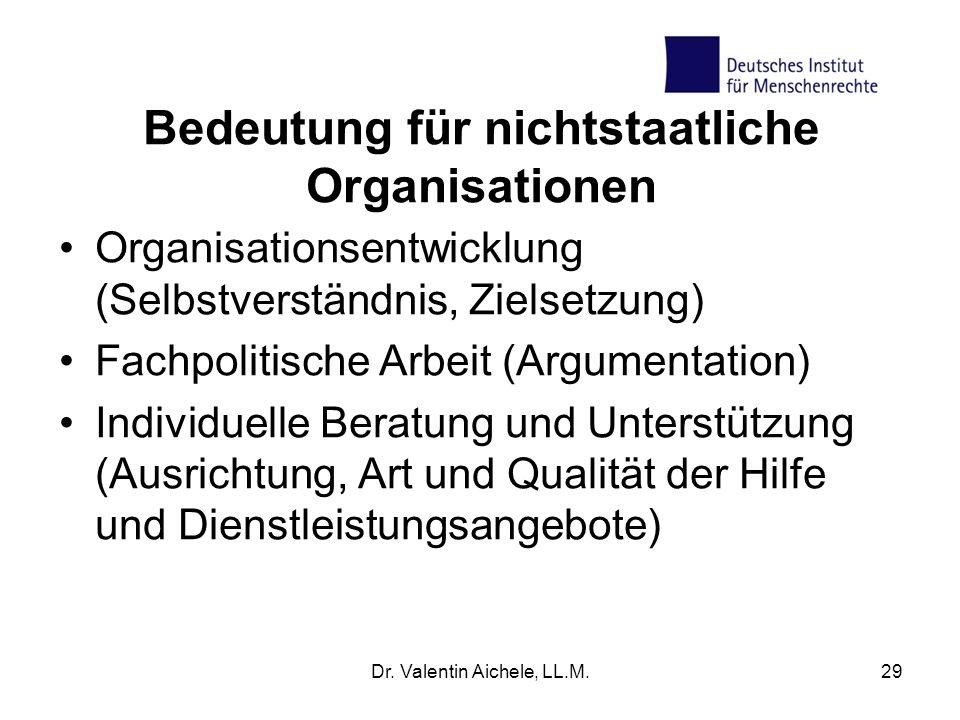 Dr. Valentin Aichele, LL.M.29 Bedeutung für nichtstaatliche Organisationen Organisationsentwicklung (Selbstverständnis, Zielsetzung) Fachpolitische Ar